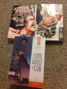 Lone wolf and cub Volume 3 and Attack on Titan volume 2,3